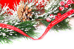 Pine branches with Christmas ornaments Royalty Free Stock Photography