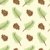 Pine branches and cones seamless texture. Pattern of conifer cones and pine branches on the sandy background. Seamless texture Royalty Free Stock Photo
