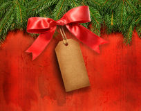 Pine branches with gift tag Royalty Free Stock Photography