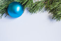Pine branches New Year background ball cones Stock Image