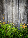 Pine branches and stars Christmas concept Stock Image