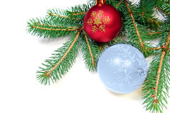 Pine branches and xmas ball Royalty Free Stock Images
