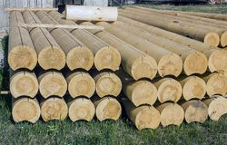 Pine building logs. Royalty Free Stock Photo
