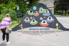 Pine Bush UFO Fair Flying Saucer Photo Opp Stock Image