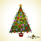 Unsophisticated Pine Christmas Tree. Homespun Pine Christmas tree with branches, baubles pinecones and stars Stock Photos
