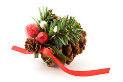Pine cone christmas decoration Royalty Free Stock Photos