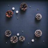 Pine cone Christmas decoration elements Black background. Pine cone Christmas decoration crystal elements Black background Stock Photos