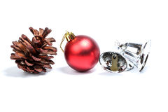 Pine cone Christmas decoration red ornament Royalty Free Stock Photography