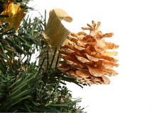 Pine cone on Christmas tree Royalty Free Stock Images
