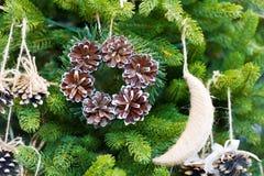 Pine cone christmas wreath stock photos