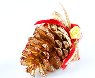Pine cone decorated for christmas tree Royalty Free Stock Photography