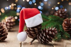 Pine cone decorated Santa hat and fir tree branch on rustic background. Christmas greeting card. Pine cone decorated Santa hat and fir tree branch on rustic Royalty Free Stock Image