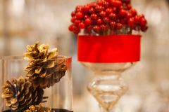 Pine cone and decorations Christmas items are arrange and decorated with beautiful objects. Waiting for the festival day at the end of the year Stock Photo