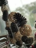 Pine cone and dust ball vase decoration royalty free stock image