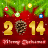 2014 pine cone illustration background Royalty Free Stock Image