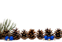 Pine Cone Lineup And Small Blue Ornaments Royalty Free Stock Images
