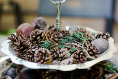 Pine cone on metal dish with wood table. Stock Photography