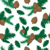 Pine cone pattern christmas decoration. Nature pine cone decoration spruce xmas green forest elements. Evergreen holiday pine cone branch set. Forest plant Stock Photo