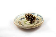 Pine cone on the plate. Traditional Stock Photo