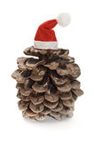 Pine cone with Santa hat Stock Photo