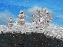 Pine cone and snowmans Royalty Free Stock Photography