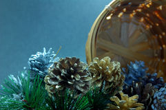 Pine Cones with Basket Royalty Free Stock Images