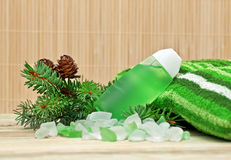 Pine cones and bath salts. Stock Images