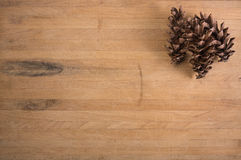 Pine Cones on Butcher Block Royalty Free Stock Photos