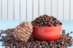 Pine cones and cedar nuts in ceramic bowl on light Royalty Free Stock Photography