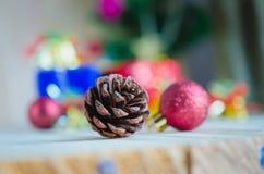 Pine cones  and chrismas decoration Stock Image