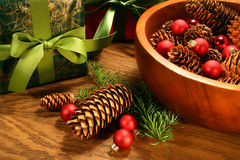 Pine Cones,christmas Balls And Gifts Royalty Free Stock Photos