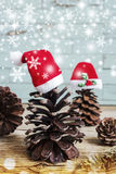 Pine cones with christmas hats Royalty Free Stock Photography