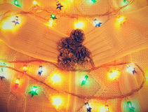 Pine cones and Christmas lights Stock Image