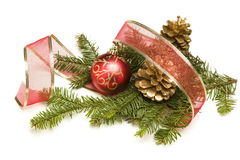 Pine Cones, Christmas Ornaments, Red Ribbon And Pine Branches On Stock Photography