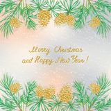 Pine cones Christmas tree. Christmas pine branches and cones with handwritten text on blurred background.Happy New Year Card Royalty Free Stock Photos