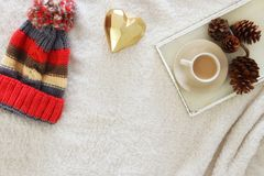 Pine cones and cup of cappuccino over cozy and fur carpet. Top view. Royalty Free Stock Photos
