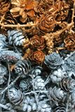 Pine cones and dried flowers. Christmas decorations and gifts, Background Stock Photo