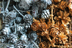 Pine cones and dried flowers. Christmas decorations and gifts, Background Royalty Free Stock Photo