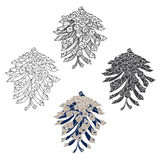 Pine cones,   elements on a white background. Royalty Free Stock Images