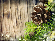 Pine cones and fir branches on wooden background Stock Photos