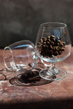 Pine Cones in a Glass Stock Photography