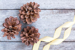 Pine Cones and golden ribbon Stock Photo