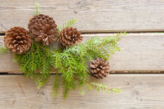 Pine cones and green branch on wood board Stock Image