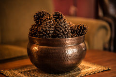 Pine Cones in a Hammered Bronze container Royalty Free Stock Image