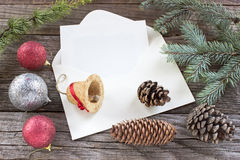 Pine cones, needles and Christmas balls Stock Image