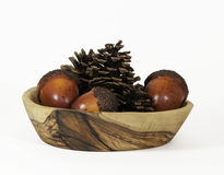 Pine Cones and Nuts in Wood Bowl Stock Image