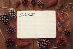 Pine cones and open notebook with text: TO DO LIST. Top view of pine cones and open notebook with text: TO DO LIST,on rustic wooden background. retro filtered royalty free stock photos