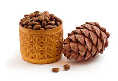 Pine cones and pine nuts. Isolated on a white background Stock Images