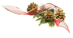 Pine Cones, Red Ribbon and Pine Branches Isolated on White Royalty Free Stock Photo