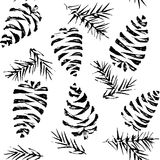 Pine cones seamless pattern. Christmas gift wrapping. Vector ill Stock Photo